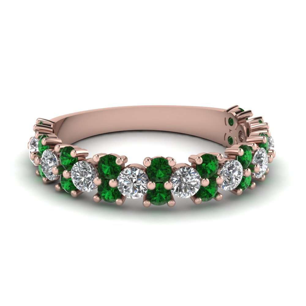 Vintage Round Cut Emerald Band