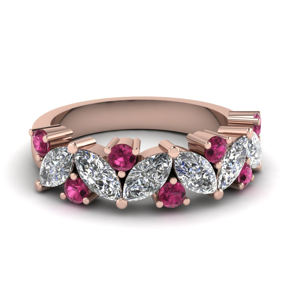 Marquise Diamond Wedding Ring With Pink Shire In Fdwb2308bgsadrpi Nl Rg