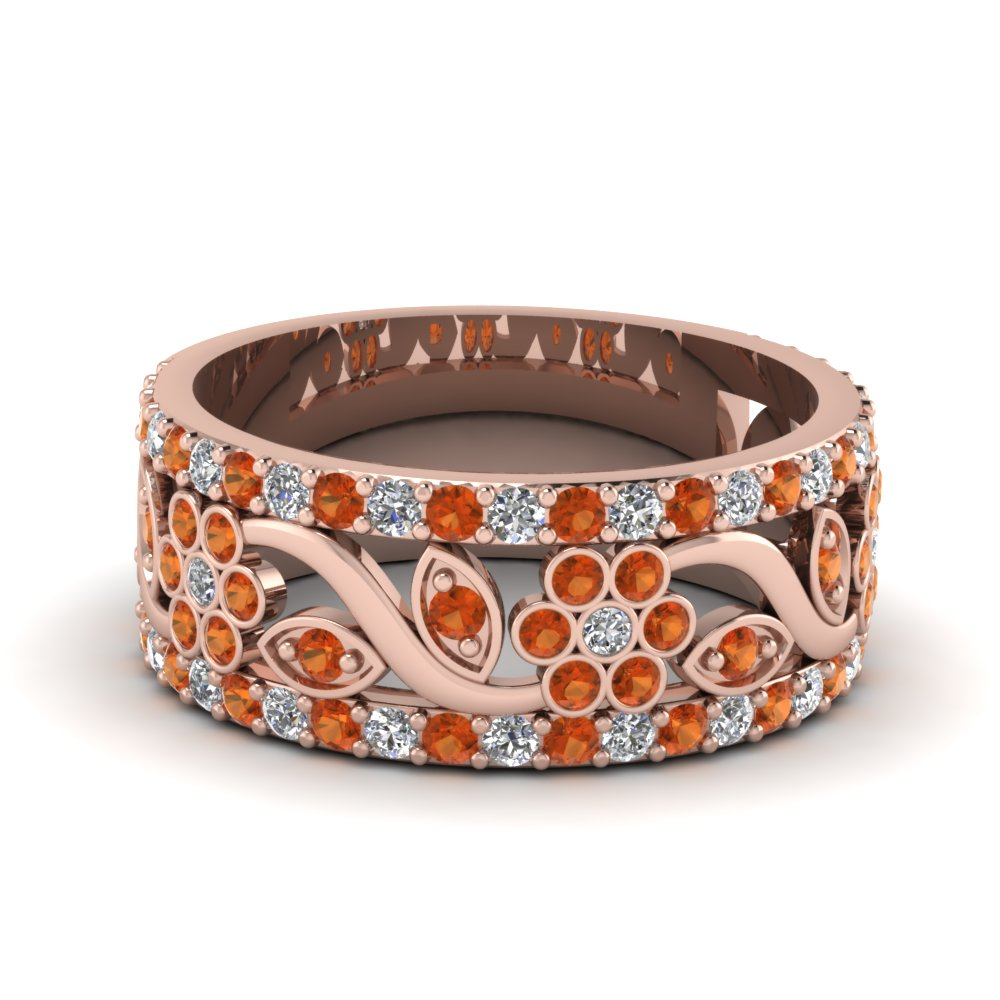 flower wide diamond anniversary band with orange sapphire in FD121690BGSAOR NL RG