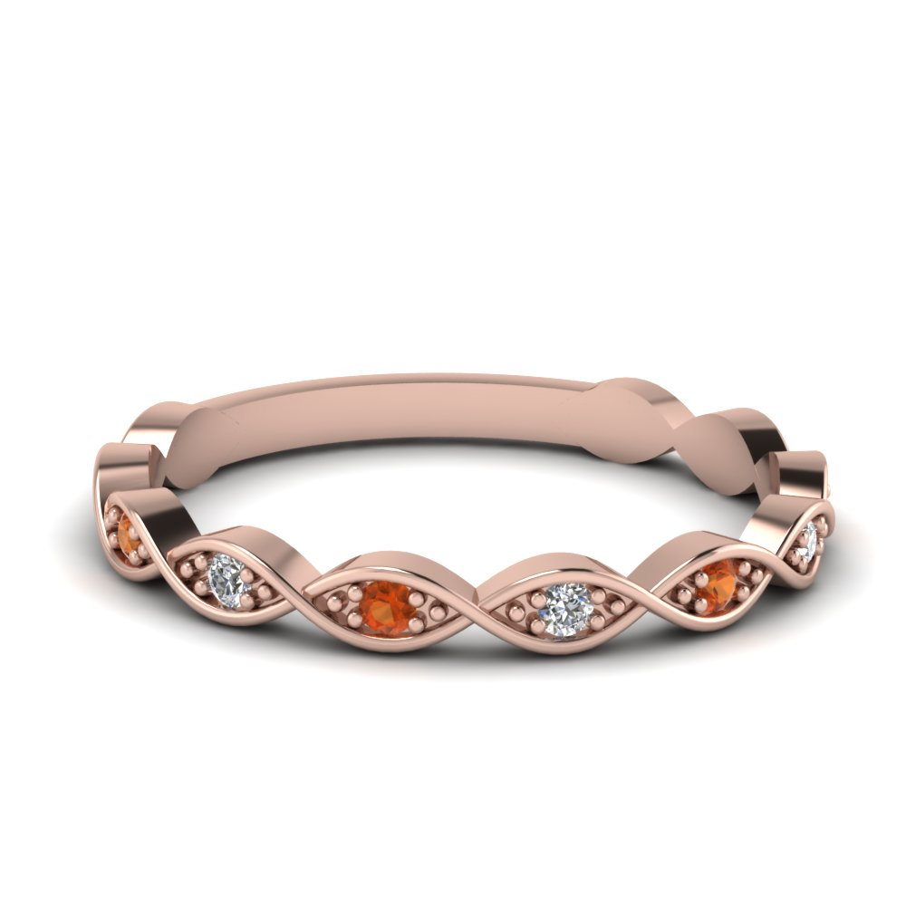 Twisted Orange Sapphire Band