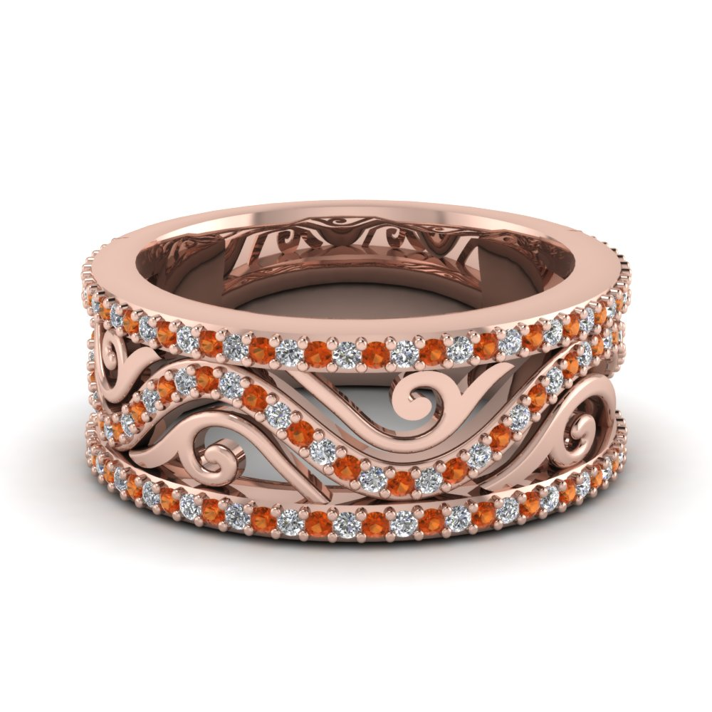 Womens Wedding Bands with Orange Sapphire in 14K Rose Gold
