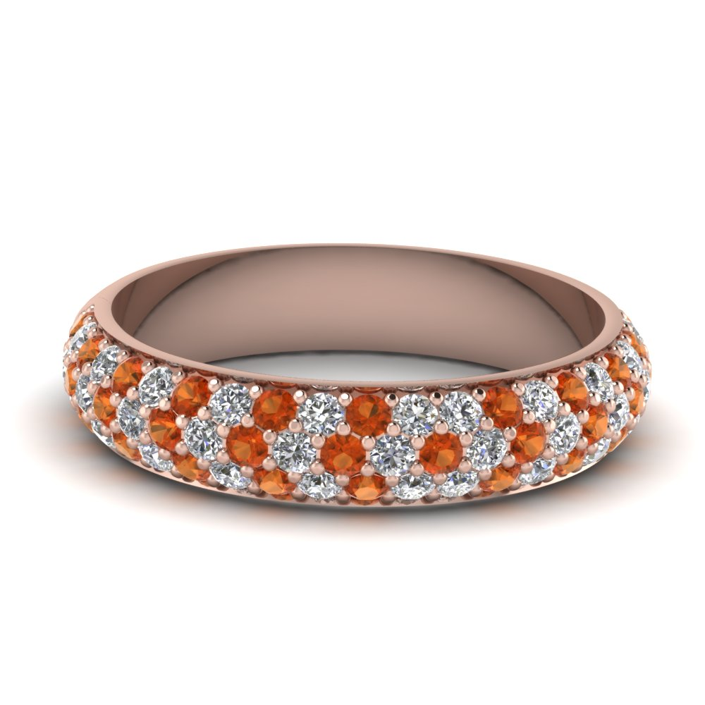 micro pave diamond wedding band with orange sapphire in FD121926BGSAOR NL RG