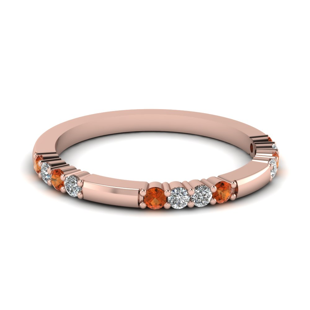 delicate diamond and orange sapphire wedding band in FD67387BGSAOR NL RG
