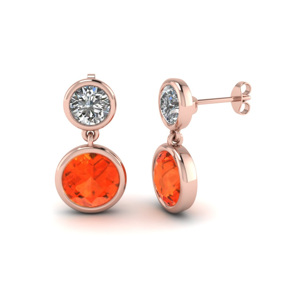 bezel round diamond drop earring with orange topaz in FDEAR1082GPOTO NL RG