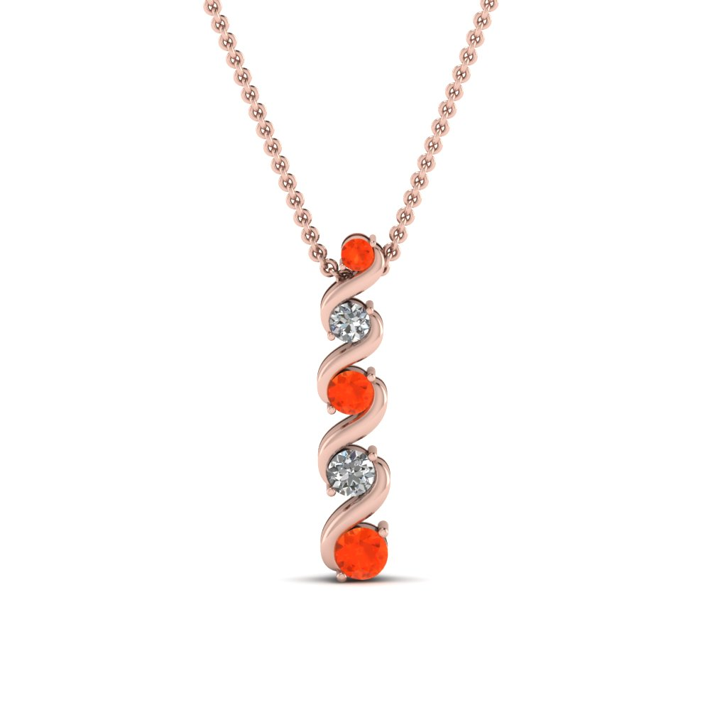 Fancy Pendant With Orange Topaz
