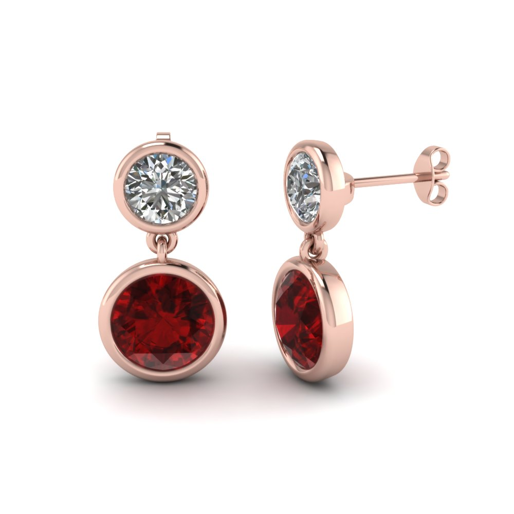 Ruby Button Drop Earring