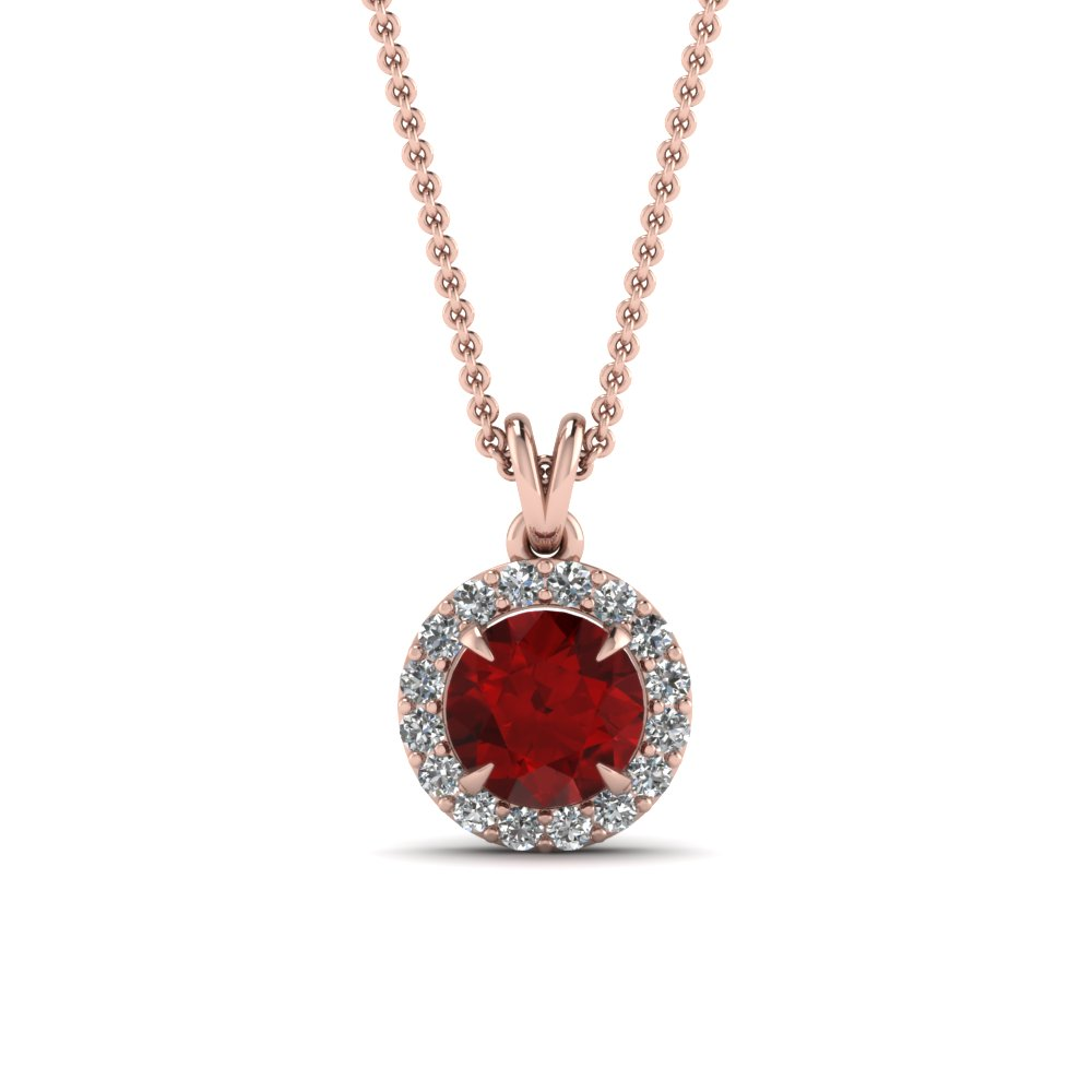 Ruby Halo Diamond Pendant