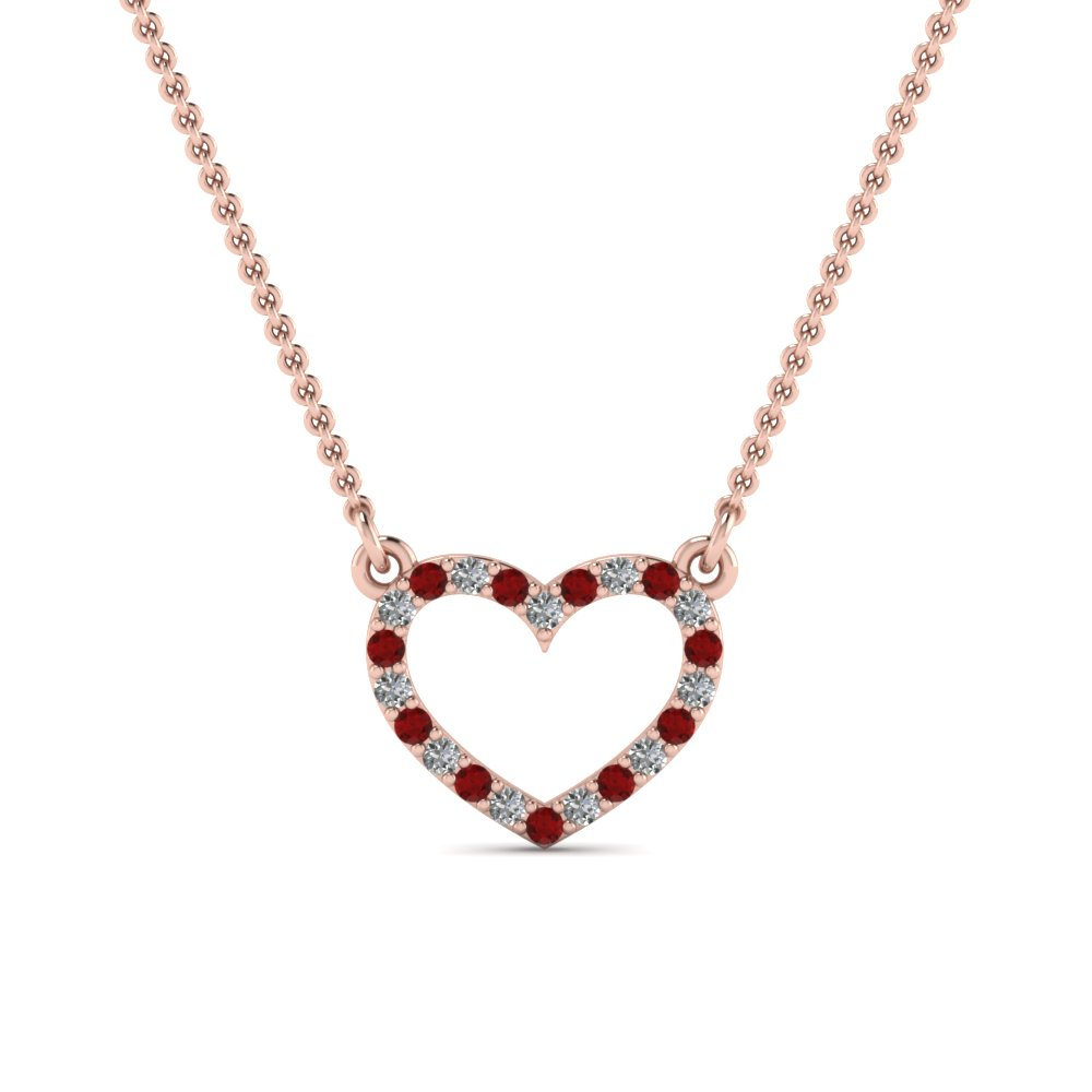 open heart diamond and ruby pendant in FDPD66415GRUDR NL RG