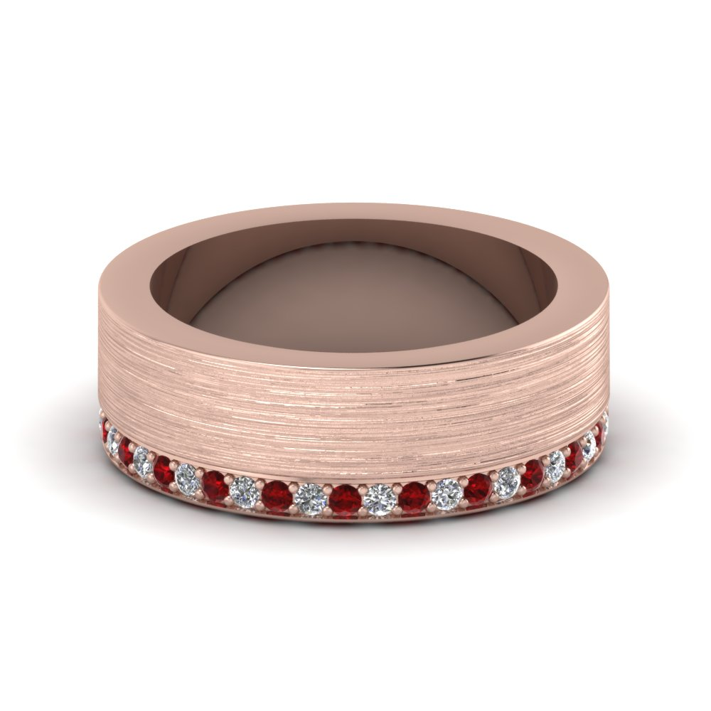 brushed diamond wedding band with ruby in FDDB1339BGRUDR NL RG