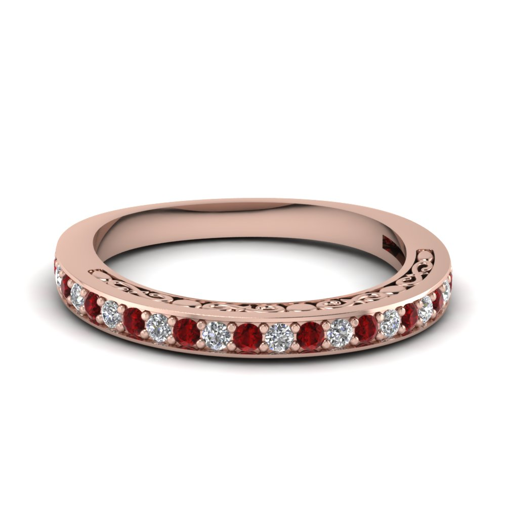 Delicate Filigree Ruby Diamond Band