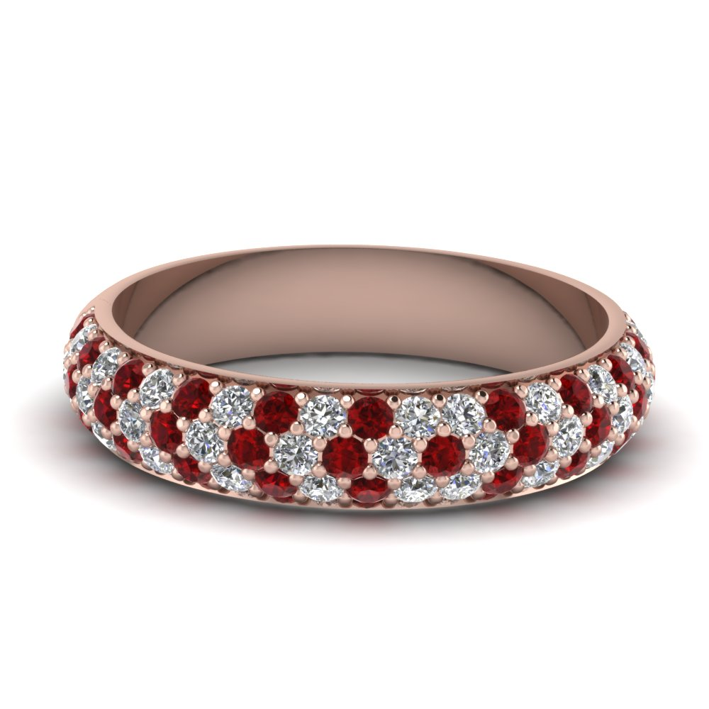Micro Pave Ruby Wedding Band