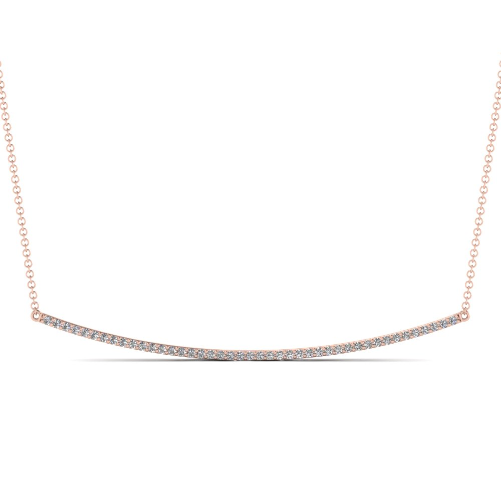 Fancy Curved Diamond Pendant Necklace