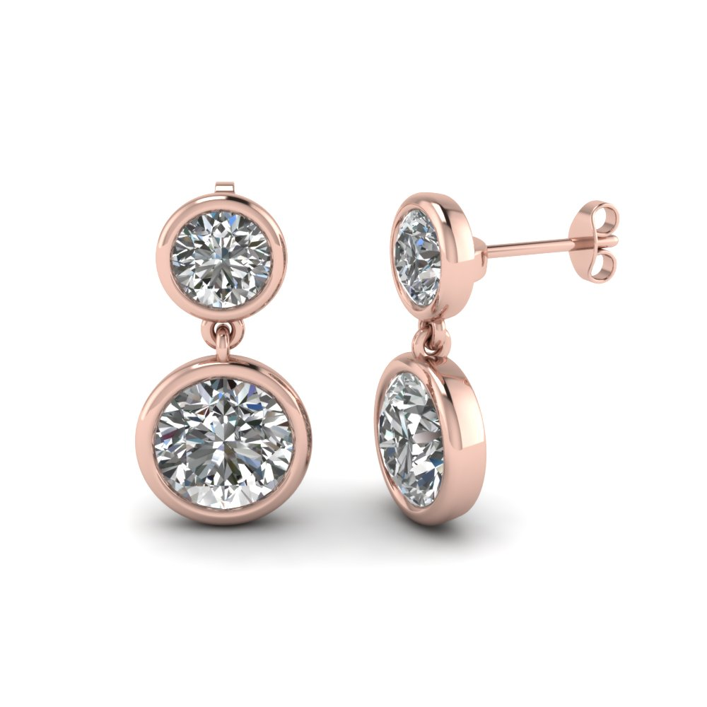 Button Drop Diamond Earring