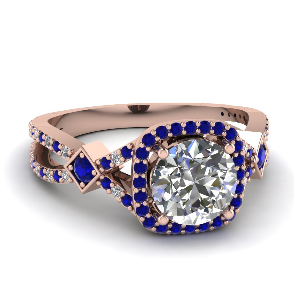 Micropave Sapphire Halo Diamond Engagement Ring