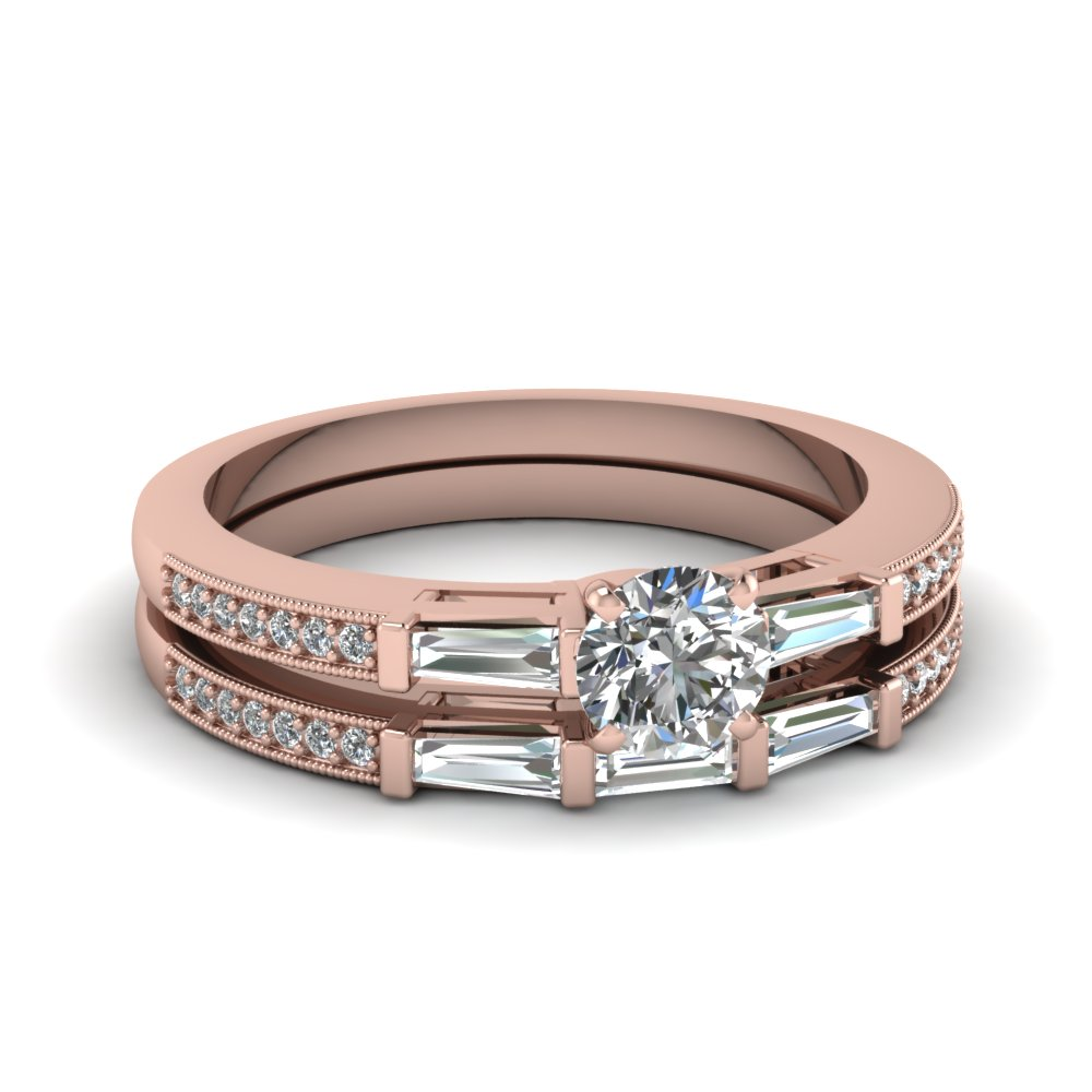 Delicate Baguette Bridal Ring Set