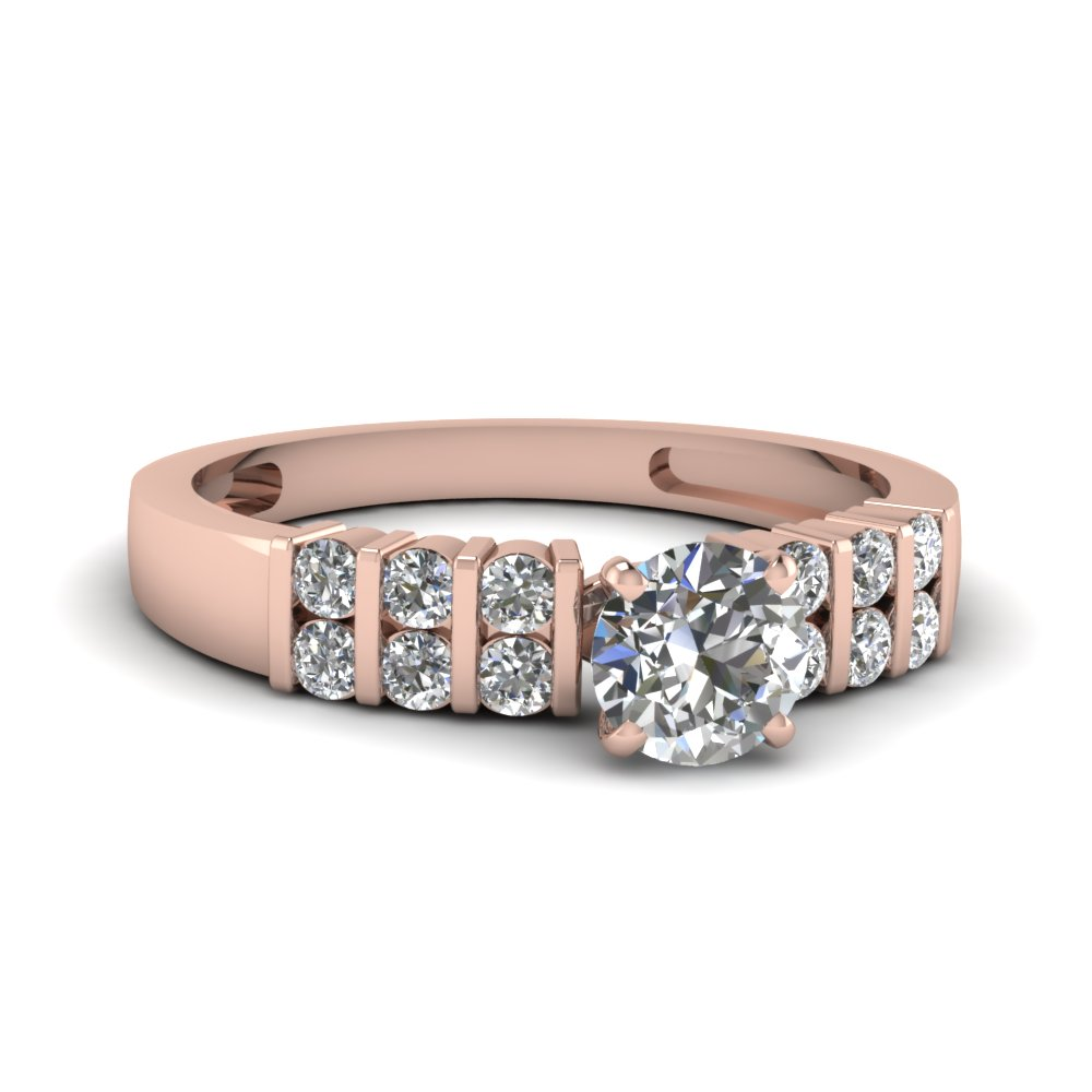 Pink Gold Round Diamond Ring For Women