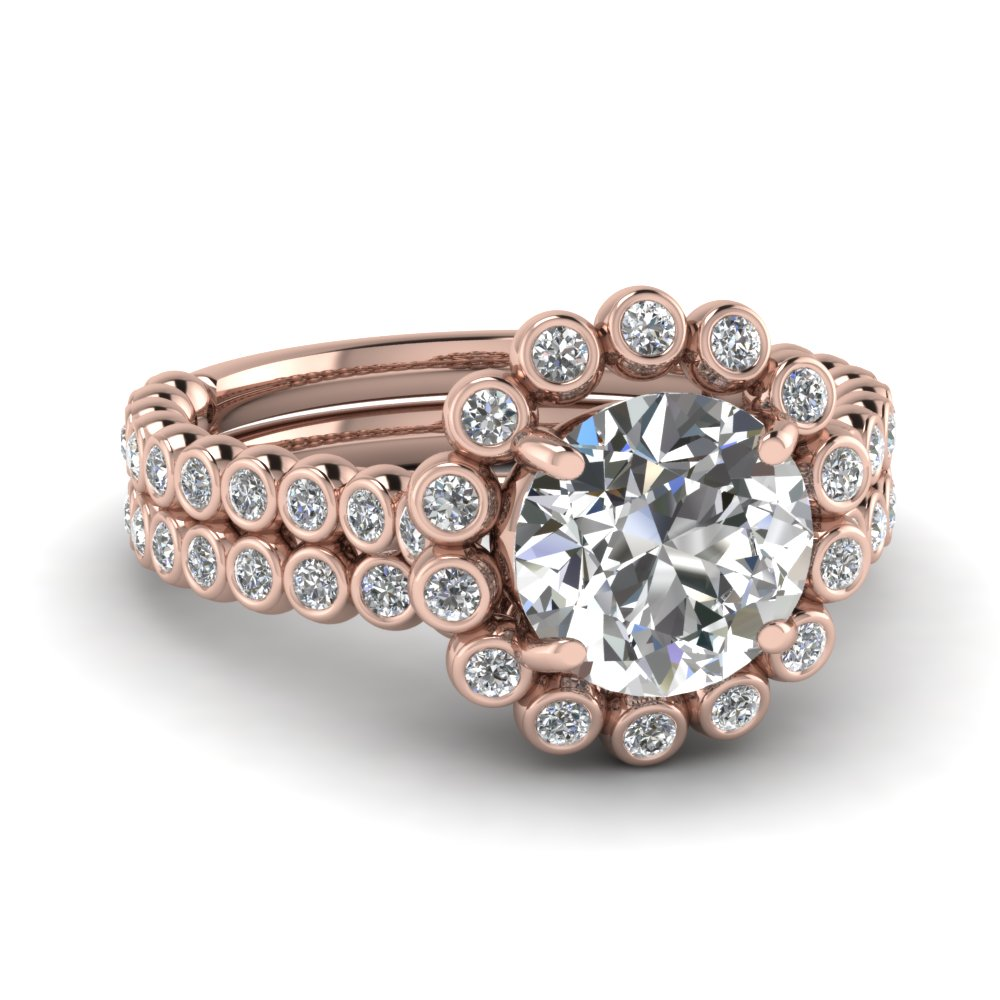 fields i gold peekaboo round rings diamond engagement ring products set stellar rose bezel full