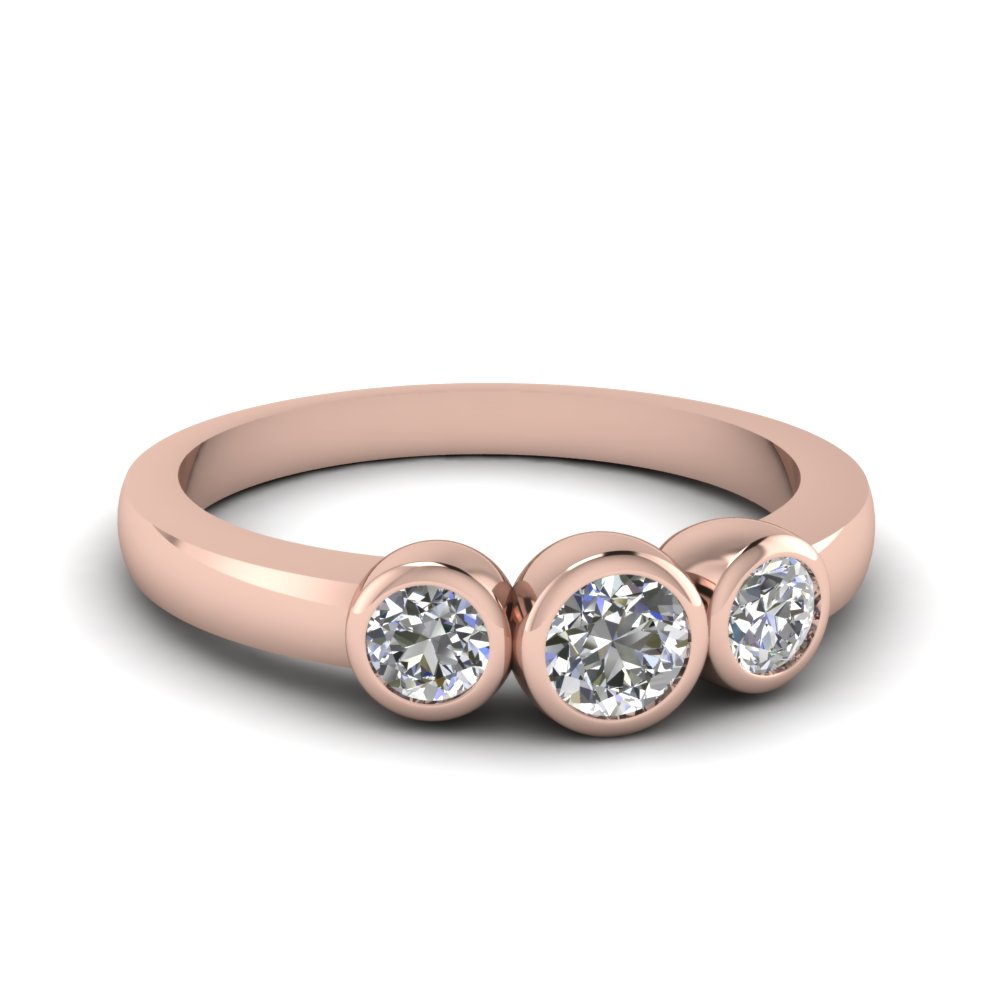 Flair Bezel Ring Round Cut Diamond 3 Stone Engagement Rings With White  Diamond In 14k Rose Gold