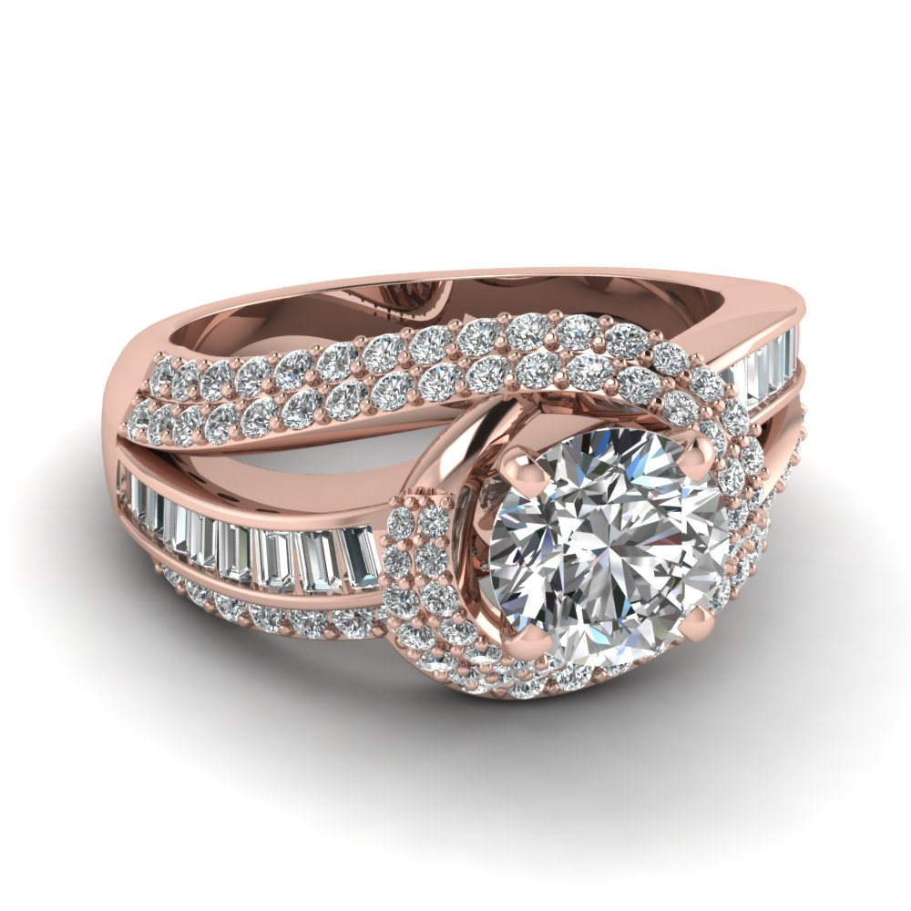 rose gold round white diamond engagement wedding ring - Rose Gold Wedding Ring Set