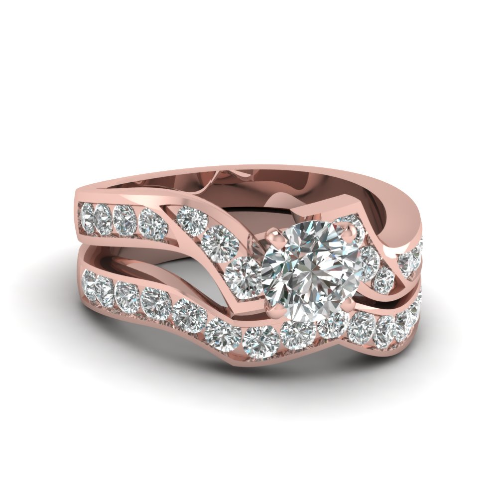 Rose Gold Round White Diamond Engagement Wedding Ring In Channel Set