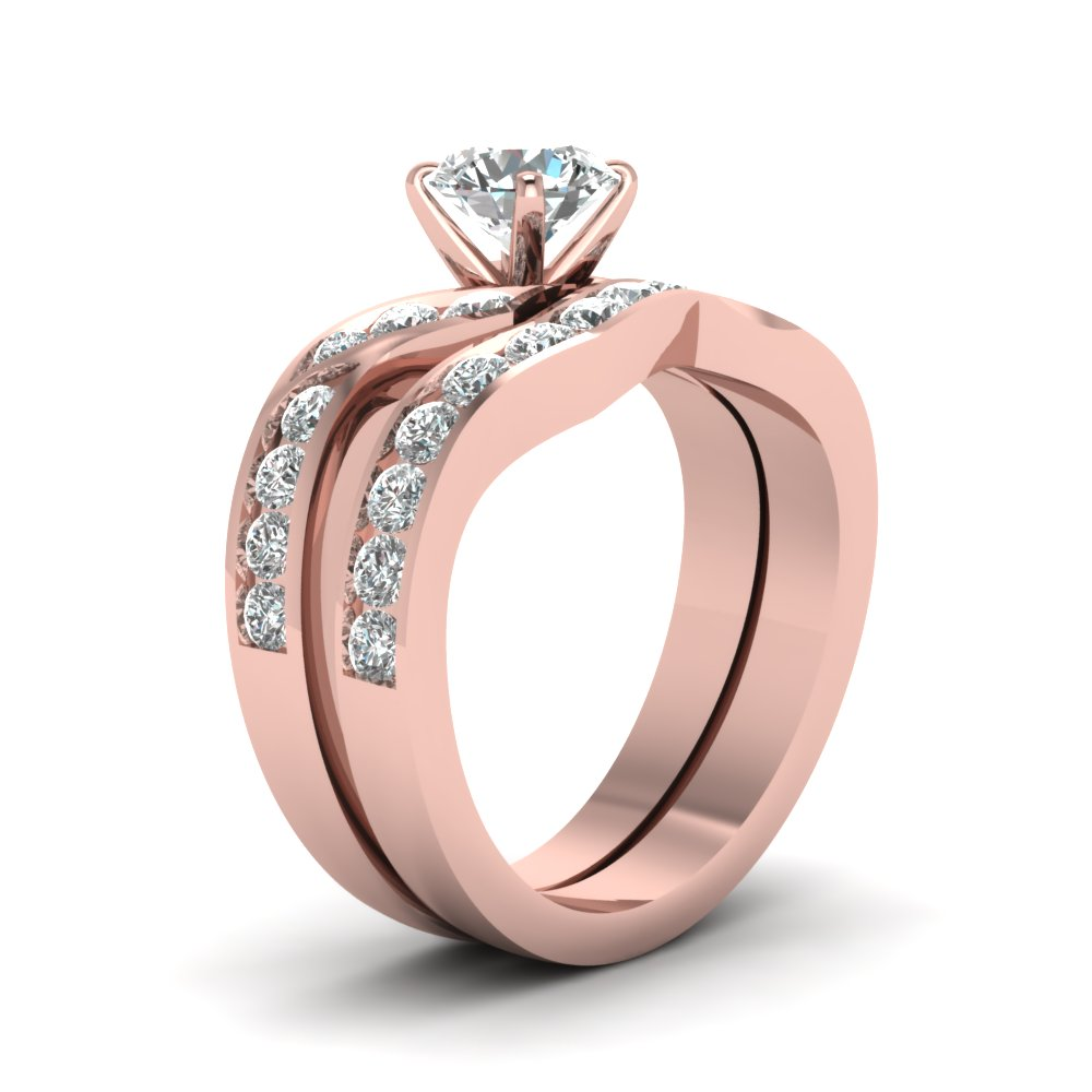 Round Cut Diamond Channel Twisted Wedding Ring Set In 14K Rose Gold ...