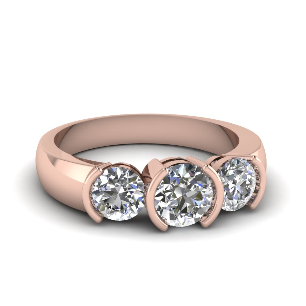 Rose Gold Round White Diamond Engagement Wedding Ring In Half Bezel