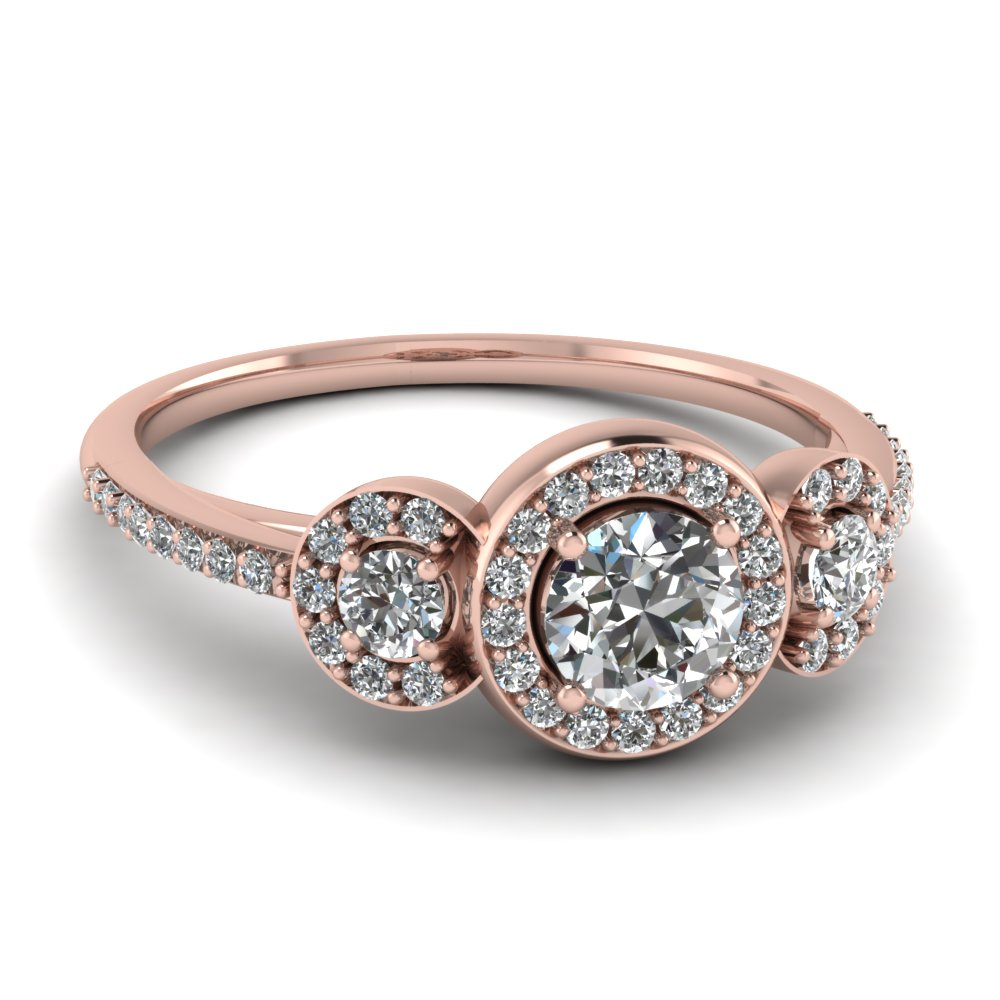 Art Deco 3 Stone Halo Round Diamond Engagement Ring In 14K Rose Gold