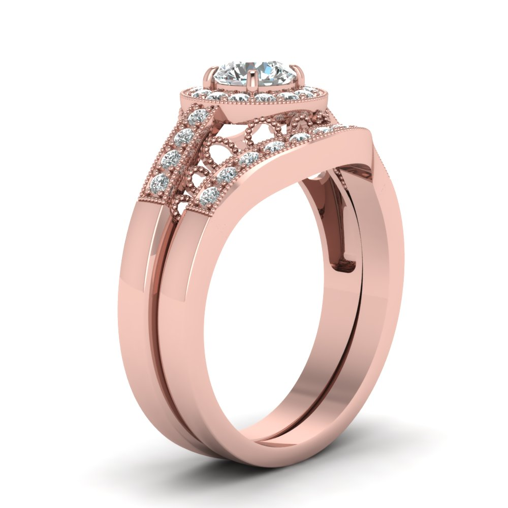 Rose Gold Round White Diamond Engagement Wedding Ring In Pave Set ...
