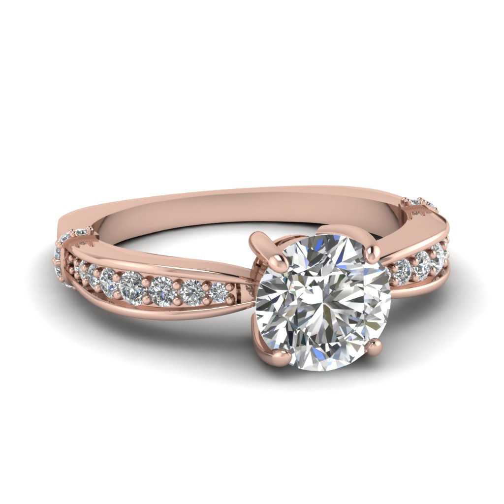 Rose Gold Round White Diamond Engagement Wedding Ring