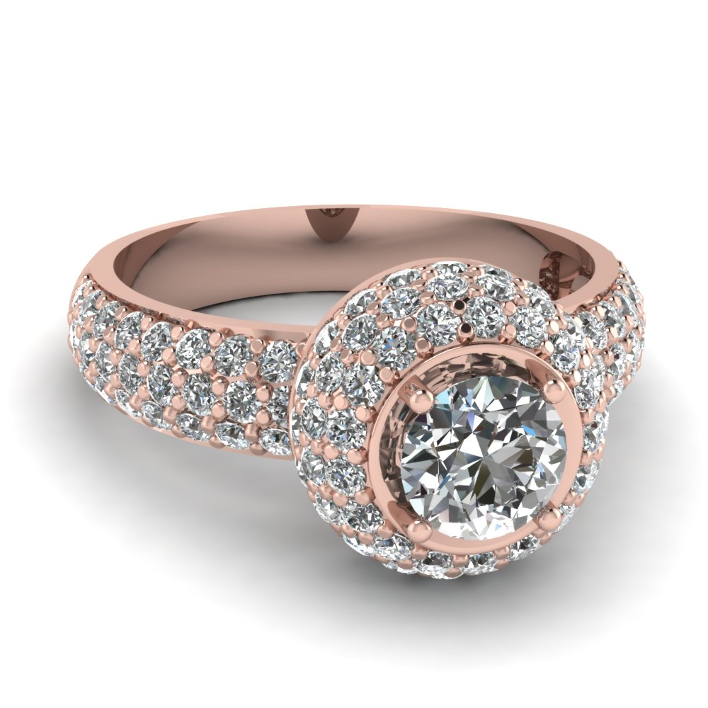Rose gold round white diamond engagement wedding ring in for White diamond wedding ring