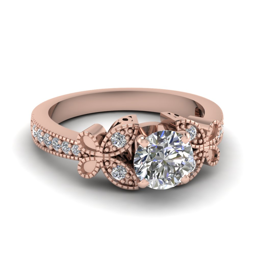 Rose Gold Milgrain Engagement Ring
