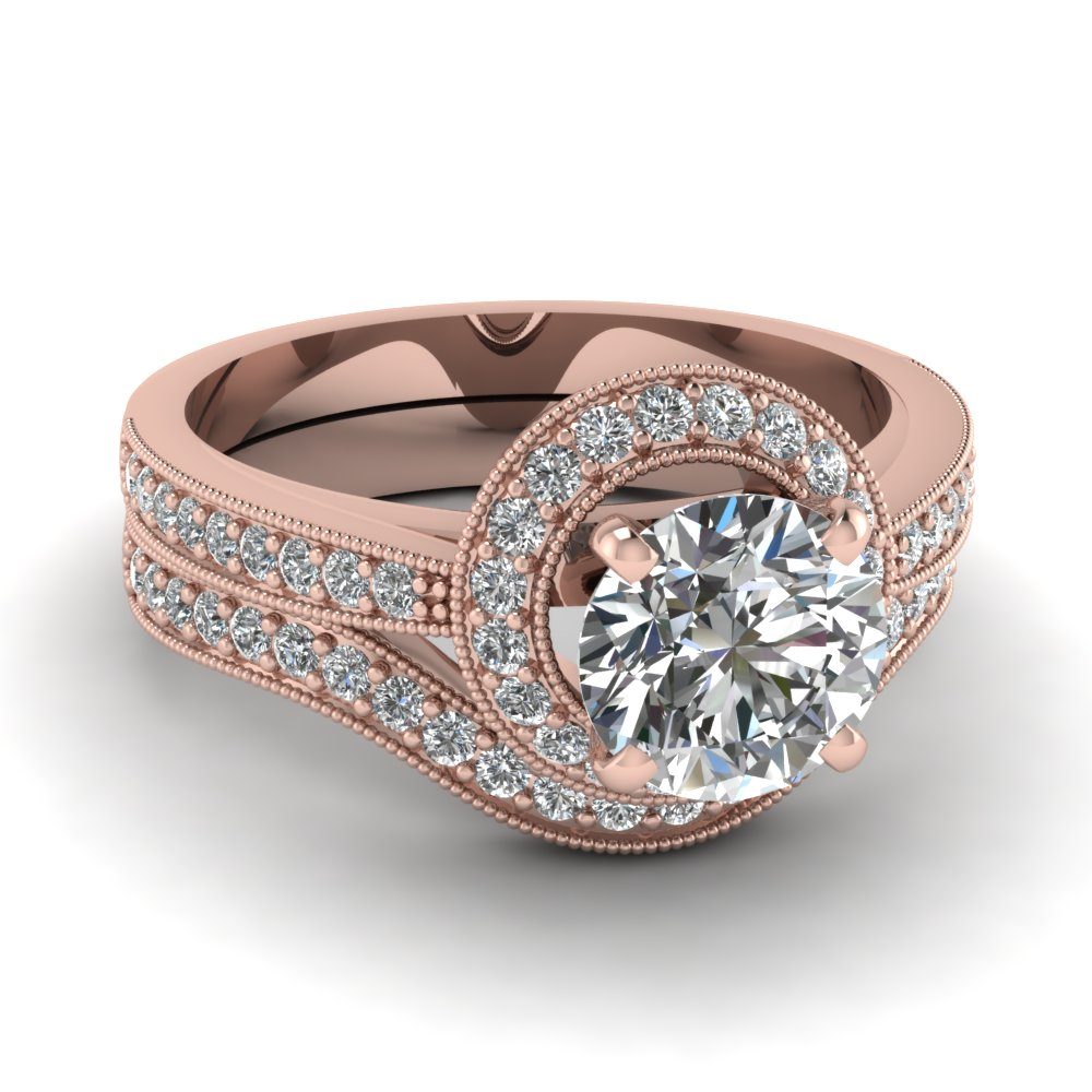 Round Cut Diamond In Rose Gold Vintage Wedding Sets
