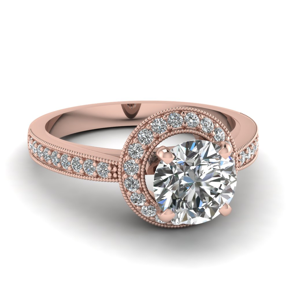 Round Cut Diamond 18k Rose Gold Milgrain Engagement Ring