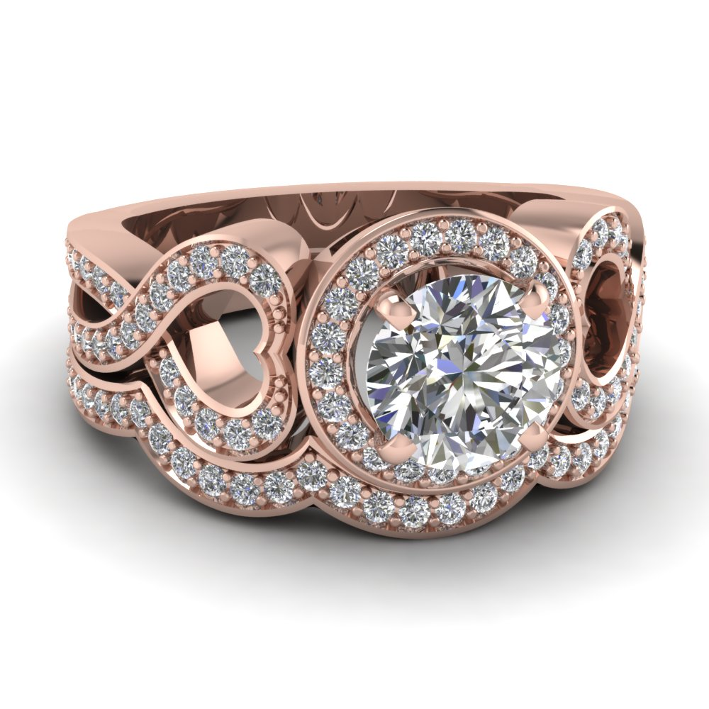 Rose Gold Round White Diamond Engagement Wedding Ring In Pave Set