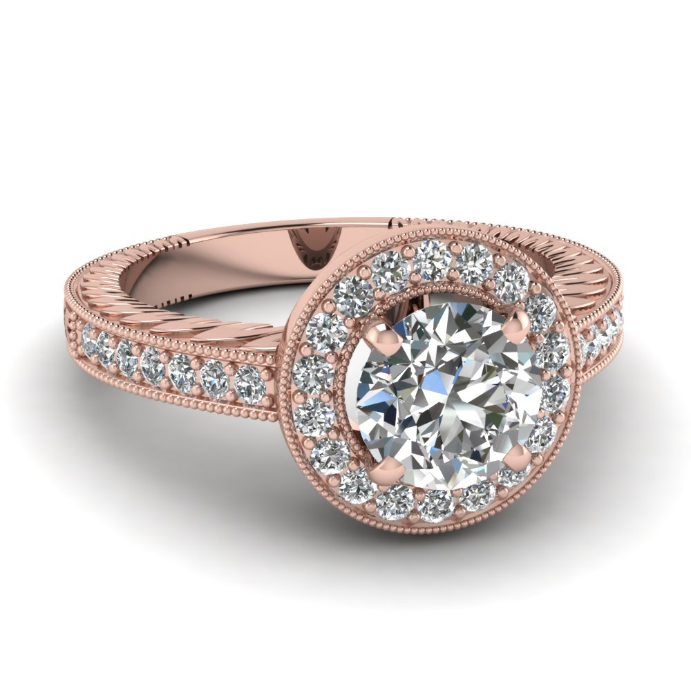 14k rose gold halo engagement rings fascinating diamonds. Black Bedroom Furniture Sets. Home Design Ideas