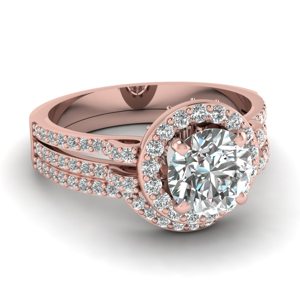 Charmant Rose Gold Round White Diamond Engagement Wedding Ring