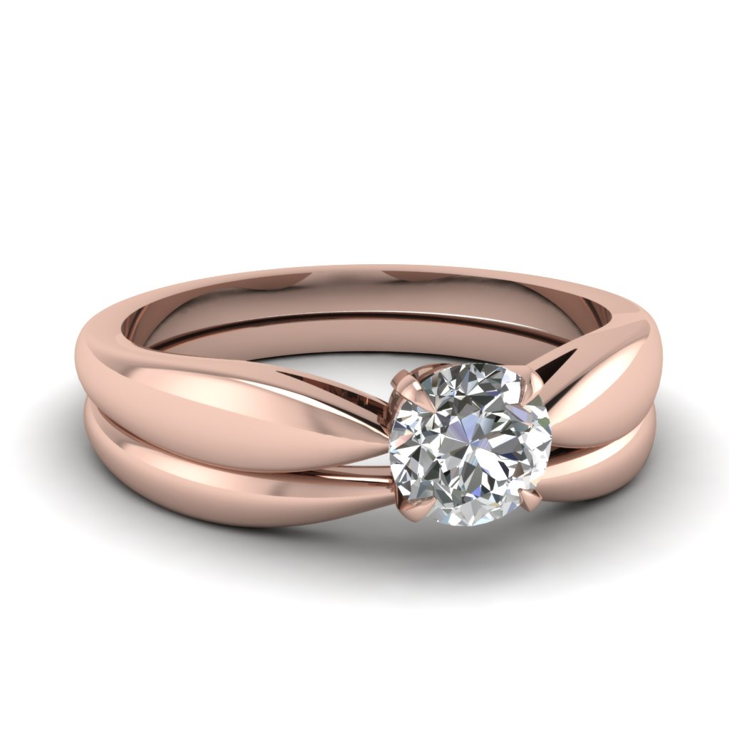 tapered bow solitaire wedding ring set in FD1031RO NL RG