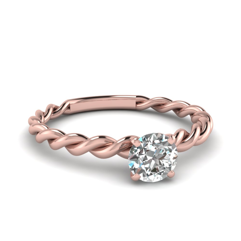 round solitaire braided engagement ring in FD1087ROR NL RG