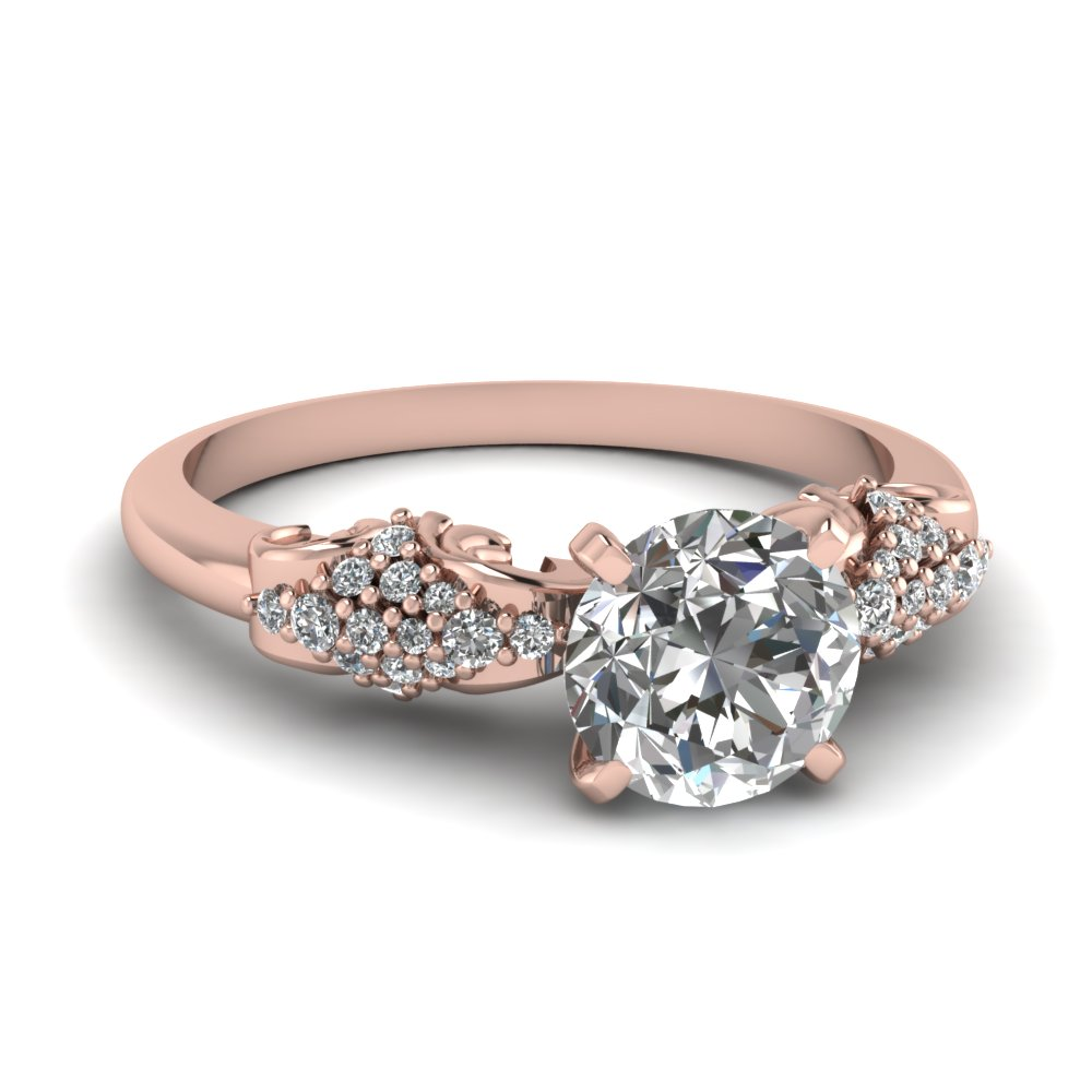Rose Gold Round White Diamond Engagement Wedding Ring In Prong Set