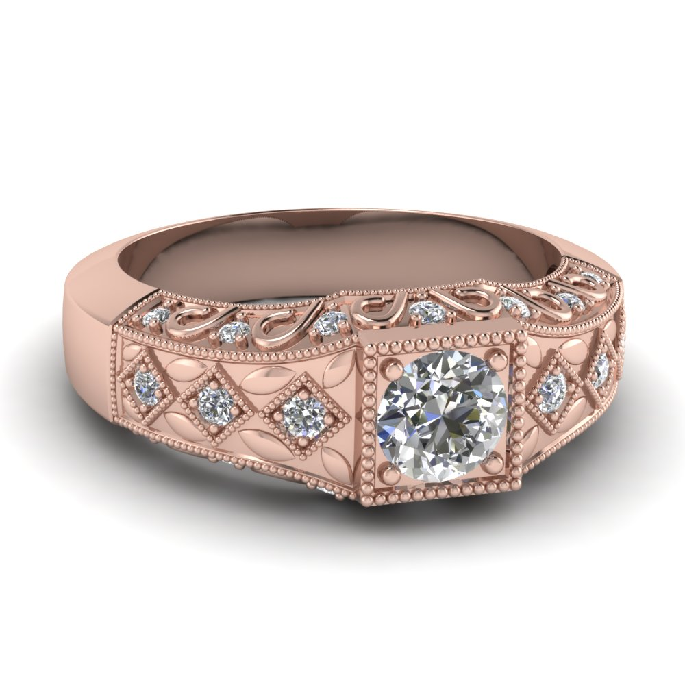 Kite Series Vintage Rose Gold Engagement Ring