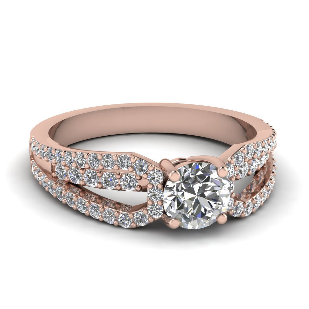 diamond loop round cut engagement ring in 14K rose gold FD68717ROR NL RG