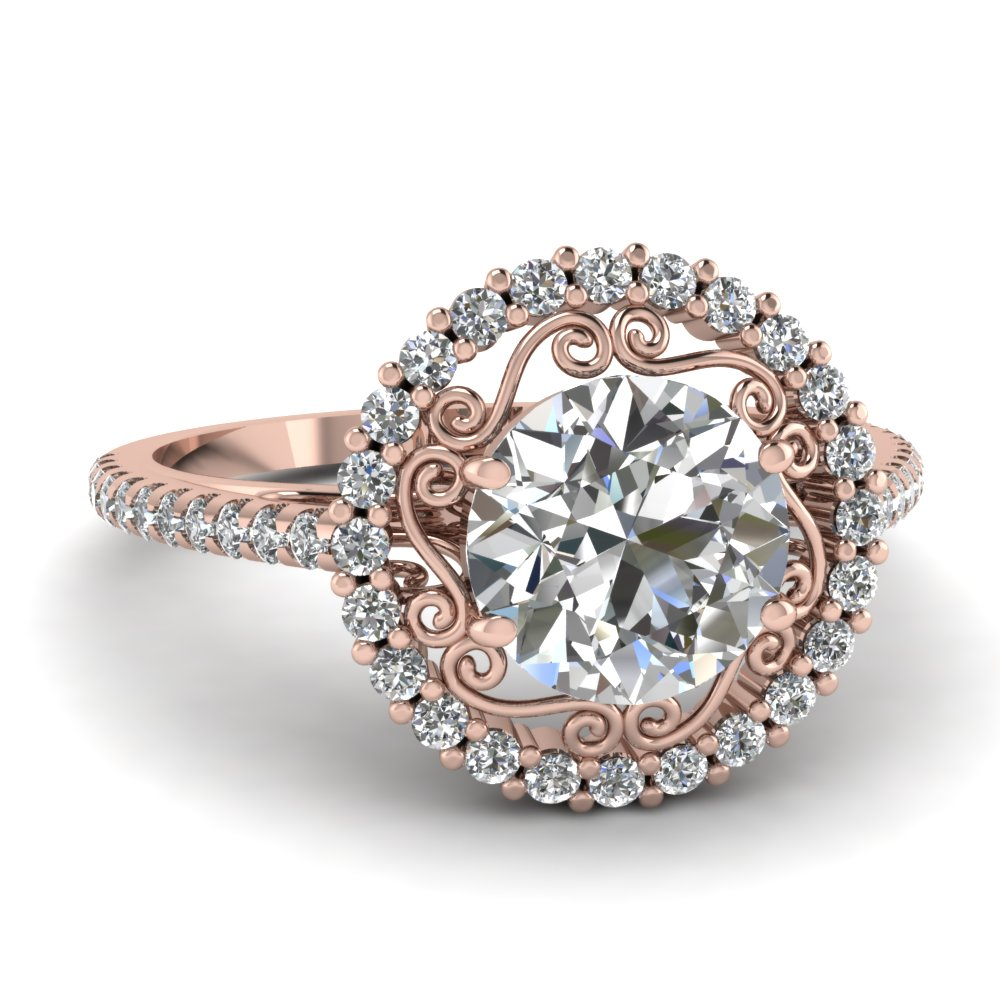 asha round solitaire four gold prong rings engagement ring rose classic do amore