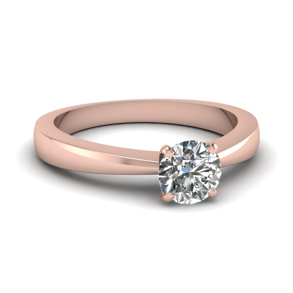 tapered traditional solitaire round cut engagement ring in FDENR1282ROR NL RG