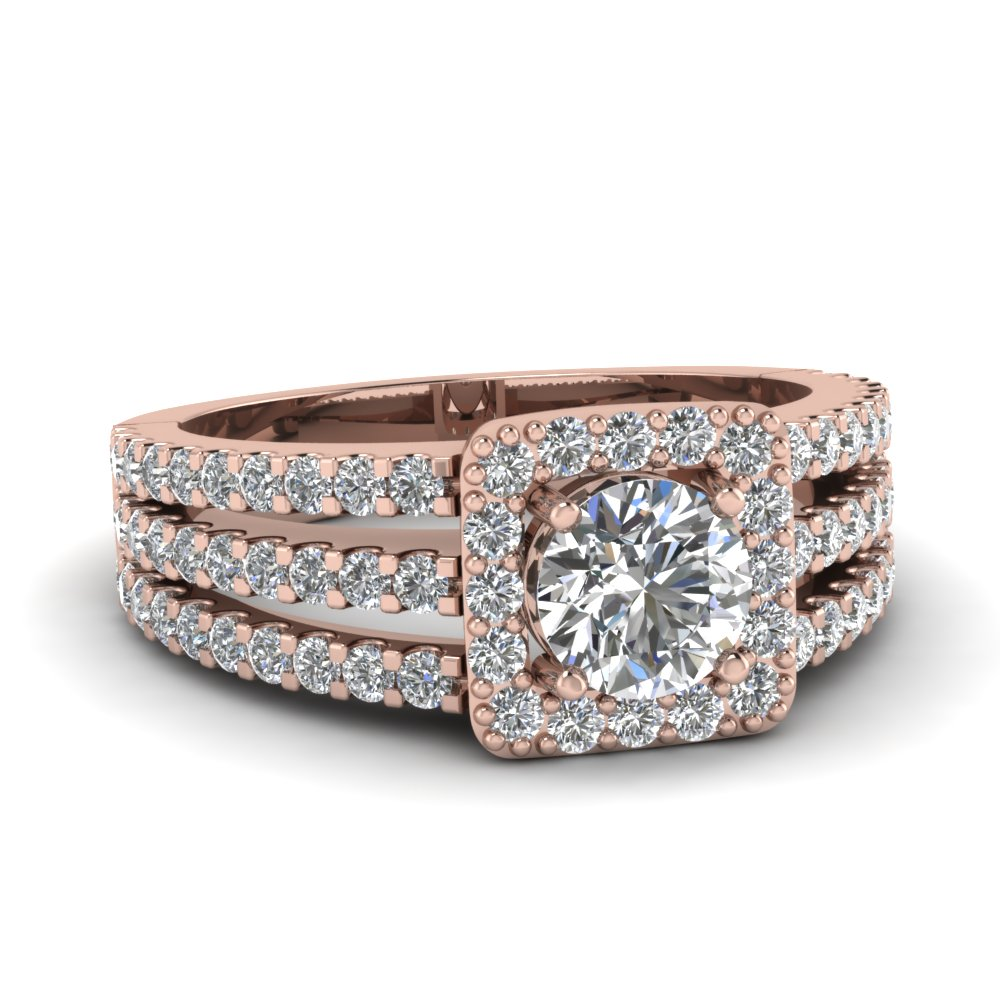 Shank Square Diamond Halo Ring