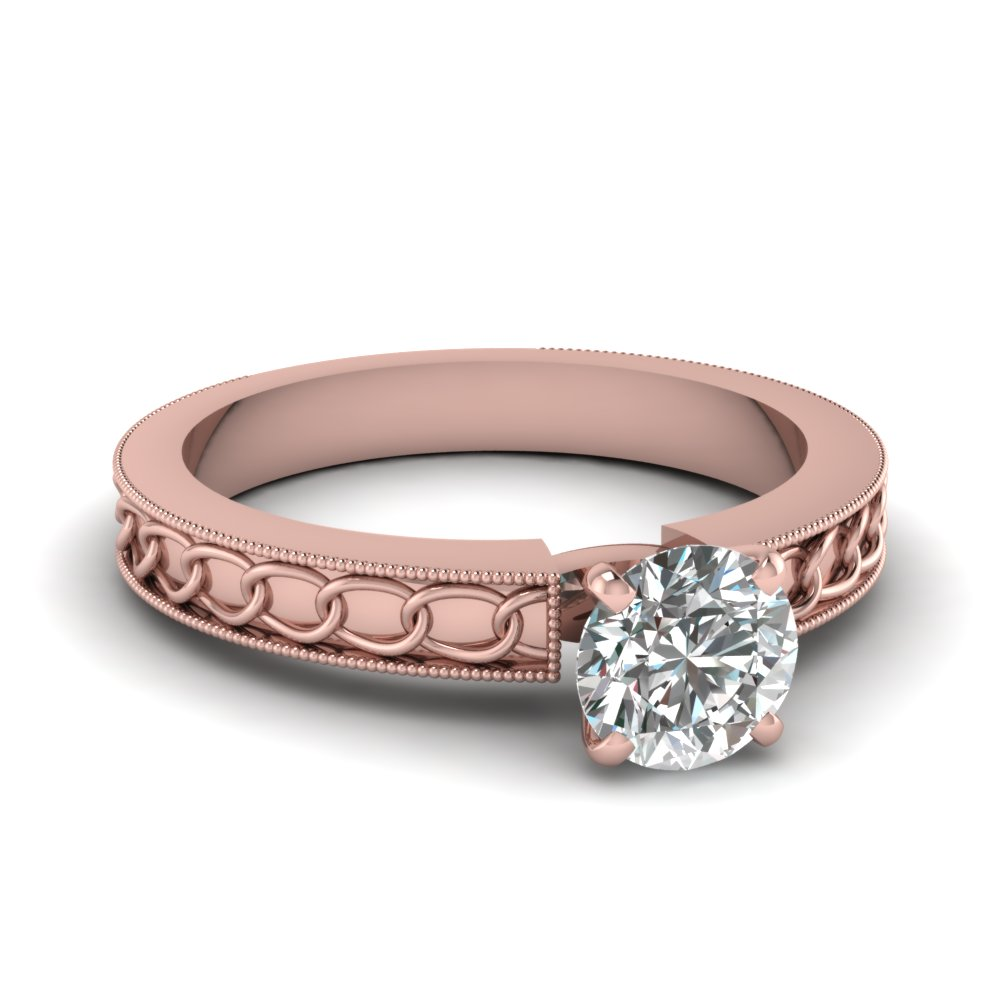 14K Rose Gold Round Cut Solitaire Diamond Engagement Rings ...