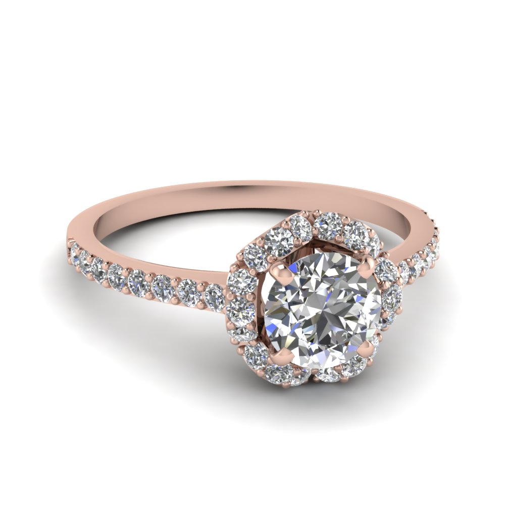 rose gold round white diamond engagement wedding ring in shared