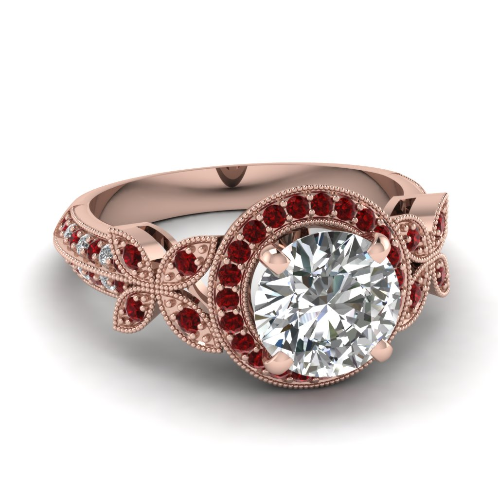 Beautiful Milgrain Design Ruby Ring
