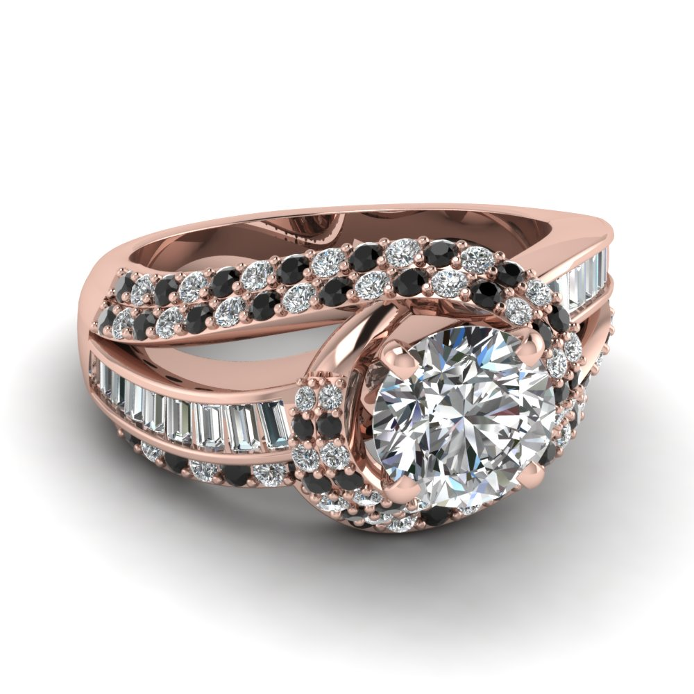 Twirl Embellished Set Round Cut Diamond Wedding Ring Sets With Black  Diamond In 14K Rose Gold 3,633 [ Setting + Center Stone ]