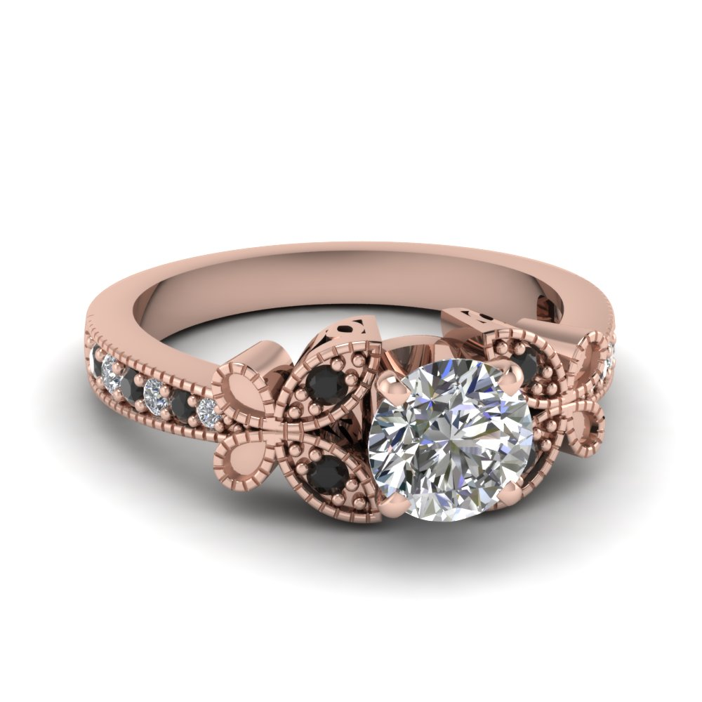 Round Cut Diamond Milgrain Engagement Rings With Black Diamond In 14k Rose  Gold