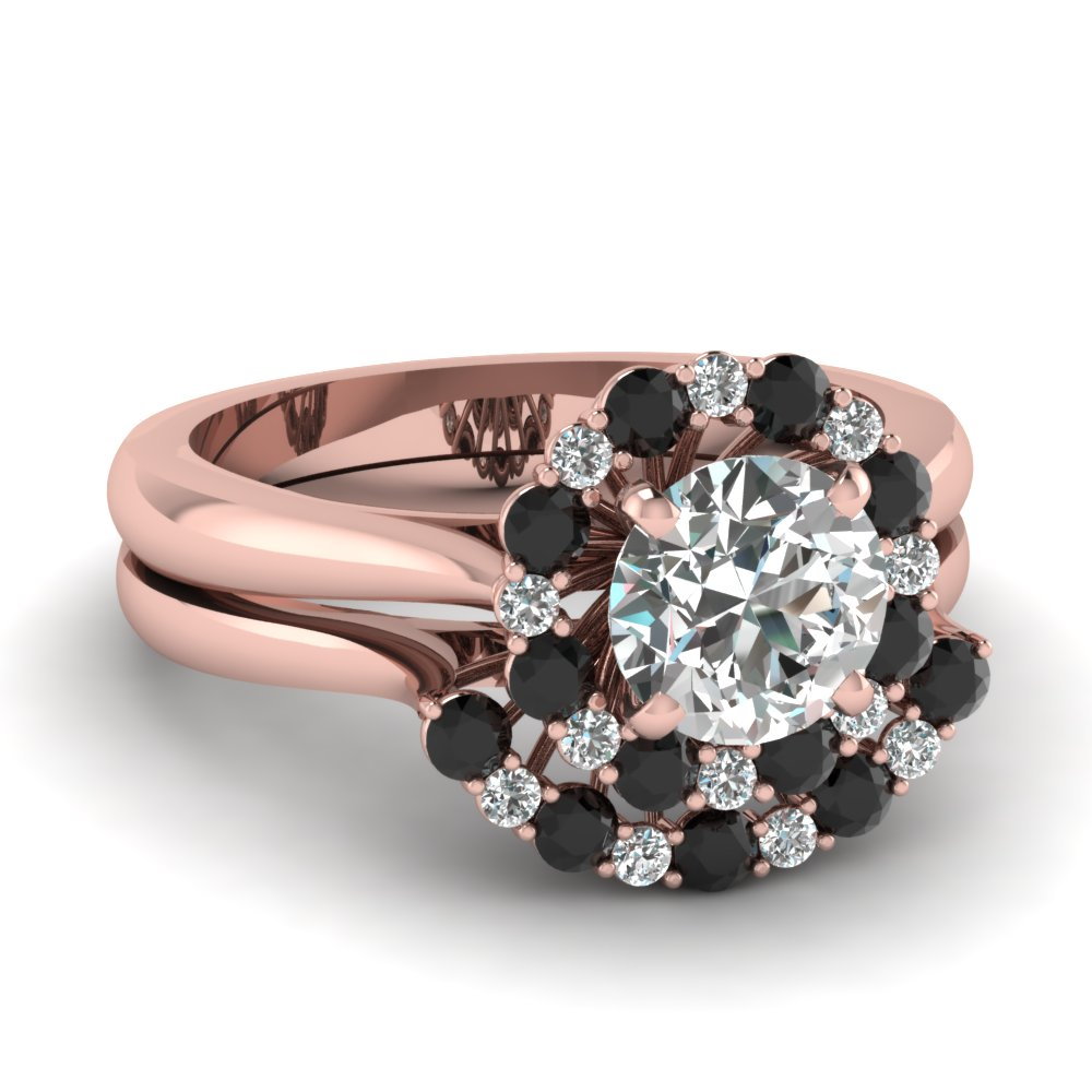 Black Diamond Floral Ring Set